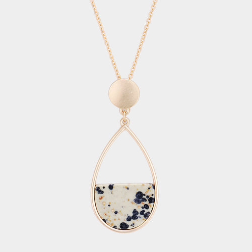 Teardrop Marble Long Necklace