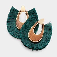 Wood Tassel Fan Earrings