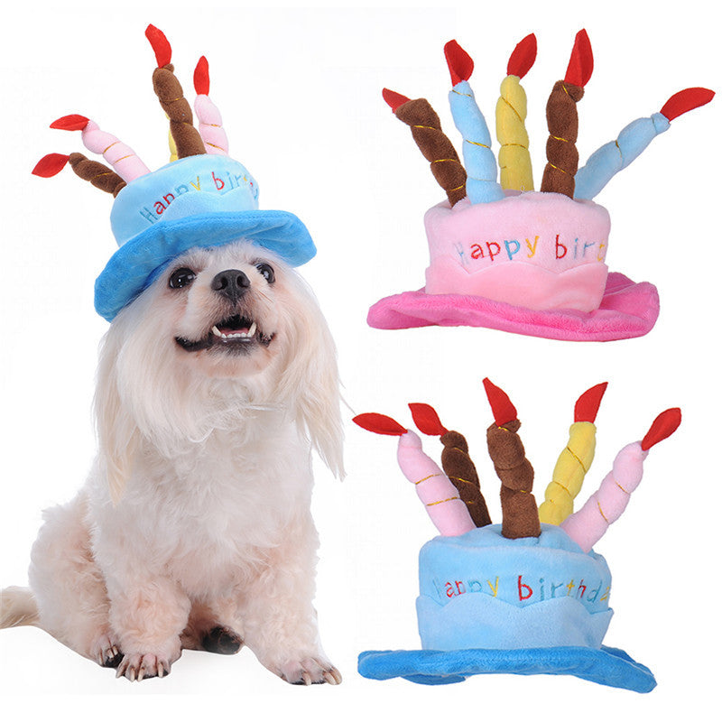 Dog Birthday Hat With Cake Candles Design Cute Party Costume Acces DogRoomStore