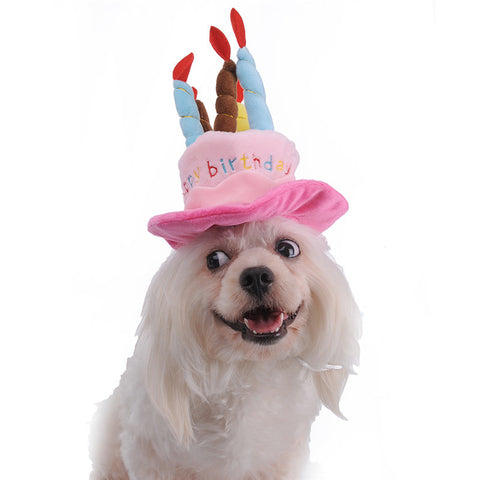 Headwear Dog Birthday Hat With Cake Candles Design Cute Party Costume Accessories