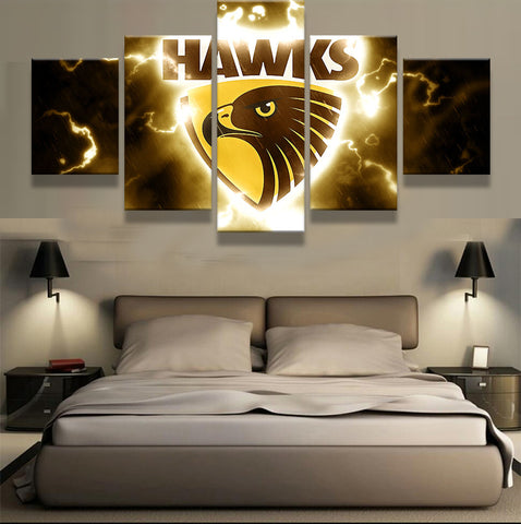 5 Pieces Sports Team Deco Fans Posters Oil Painting