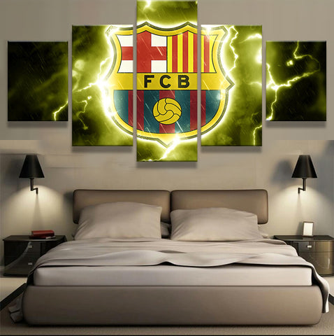 5 Pieces Futbol Club Barcelona Logo Design Of Team Canvas