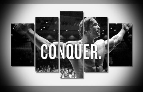 "5 Panel Arnold Schwarzenegger Bodybuilder ""Conquer"" Poster Modern Home Wall Decor Canvas Picture Art Hd Print Painting Canva Art"