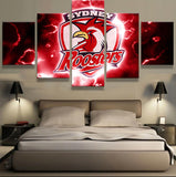 5 Pieces Sydney Roosters Logo Modern Home Wall Decor