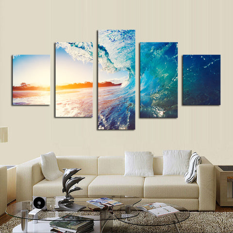 5 Panel Sunset Blue Sea Wave Seascape Painting Canvas Wall Art