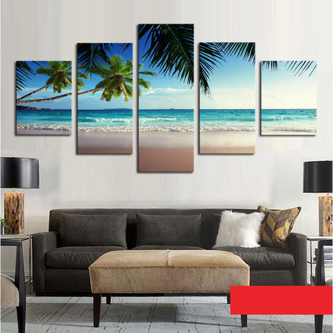 5 Panel Coconut Tree Blue Sky And Ocean Beach Seascape Home