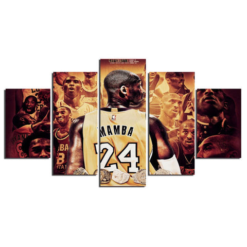 5 Pieces Legendary Basketball Players Kobe Bryant Modern Home Wall Decor