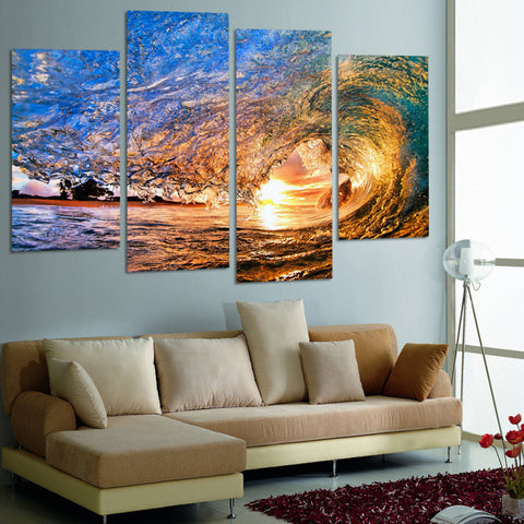 4 Pieces Canvas Wall Art Sunset On The Beach With Screw Ocean Wave Wall