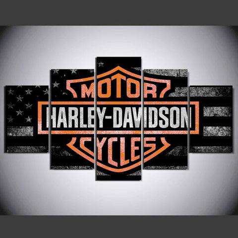 5 Panels Harley Modern Abstract Letter Canvas Painting Wall