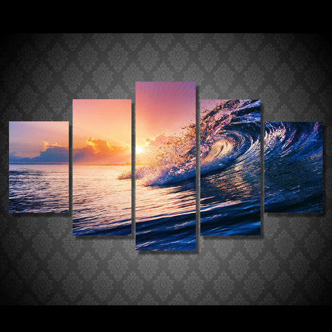 5 panels The Ocean Wave Blue Sea Sky Modern Home Wall Decor