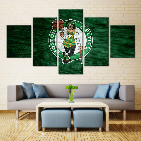 5 Pieces Boston Celtics Boys Room Deco Painting On Canvas