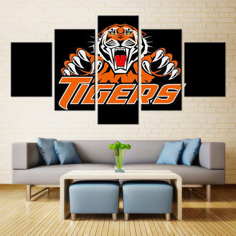 5 Panel Wests Tigers Sports Boys Room Deco Painting On Canvas