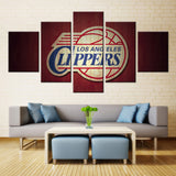 5 Panel Modular Los Angeles Clippers Modern Home Wall Decor Canvas Picture Art HD Print Painting On Canvas For Living Room