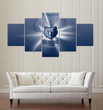 5 Pieces/Set Memphis Grizzlies Design Of Team Canvas Modern Wall Painting Fan Poster Fashion Modern Canvas Printed Painting