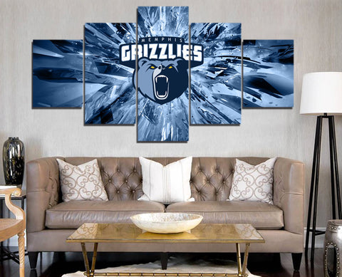 5 Pieces Memphis Grizzlies Sports Team Logo Oil Painting On Canvas