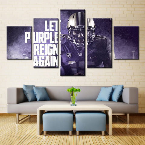 5 Panel Washington Huskies Let Purple Reign Again Modern Home Wall Decor