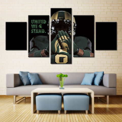 5 Pieces Michigan State Spartans Wall Art Picture Sport Home Decoration