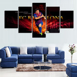 5 Panels Lionel Messi Artwork Canvas Painting Wall Art Canvas