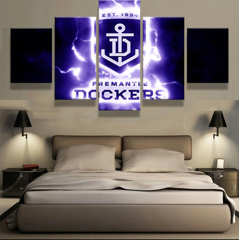 5 Pieces Fremantle Dockers Football Club Fans Oil Painting On Canvas