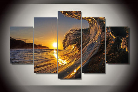 5 Pieces The Wave In The Sunset Beach Painting Canvas