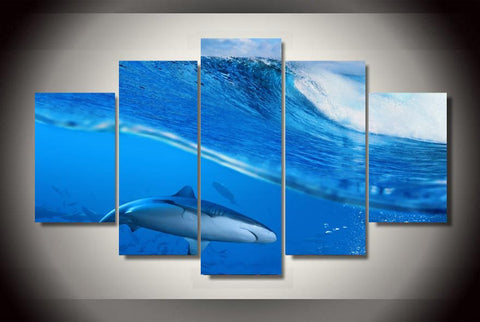 5 Pieces Waves Blue Sea Shark Painting Canvas Wall Art