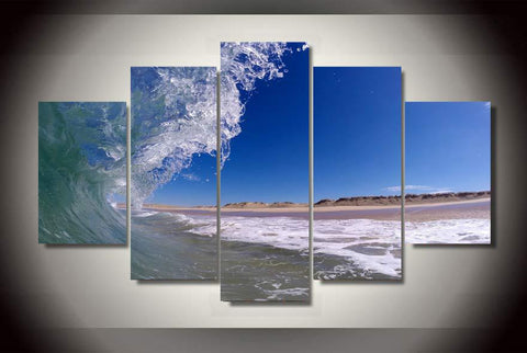 5 Panels The Beach Waves Modular Picture Canvas Painting Wall Art