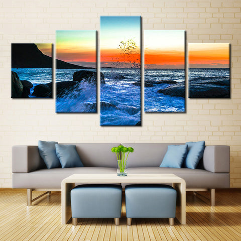5 Panel Sunset Reef Sea Wave Seascape Wall Art Picture