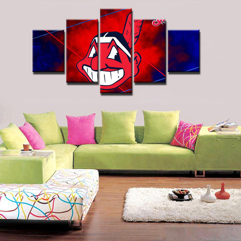5 Panels Cleveland Indians Modern Home Wall Decor Painting Canvas Art HD