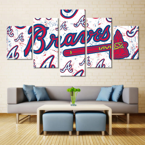5 Pieces Atlanta Braves Sports Boys Room Deco Painting On Canvas