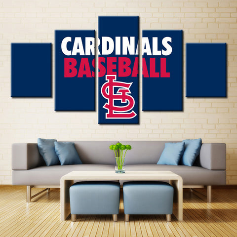 5 Panel St. Louis Cardinals Wall Canvas Art Print Painting Poster,