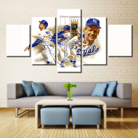 5 Panel Kansas City Royals Harry Ralston Black Major Modern Home Wall