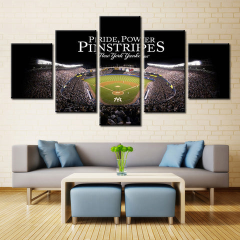 5 Pieces Yankee Stadium Printed Landscape Modular Picture Large Canvas