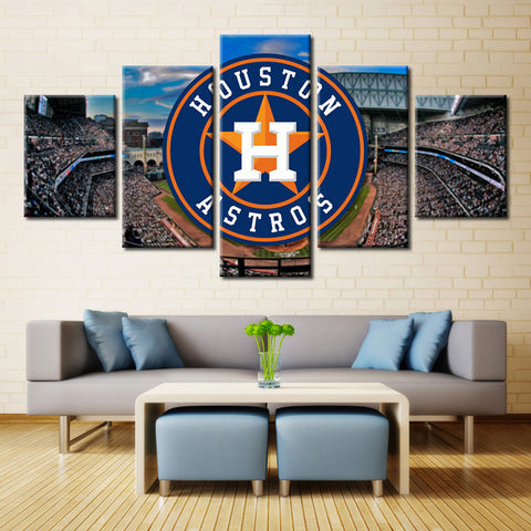 5 Pieces Houston Astros Boys Room Deco Painting On Canvas Modern Home