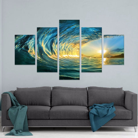 Oil Canvas Painting 5 Panel Blue Glass Waves Seascape Photo
