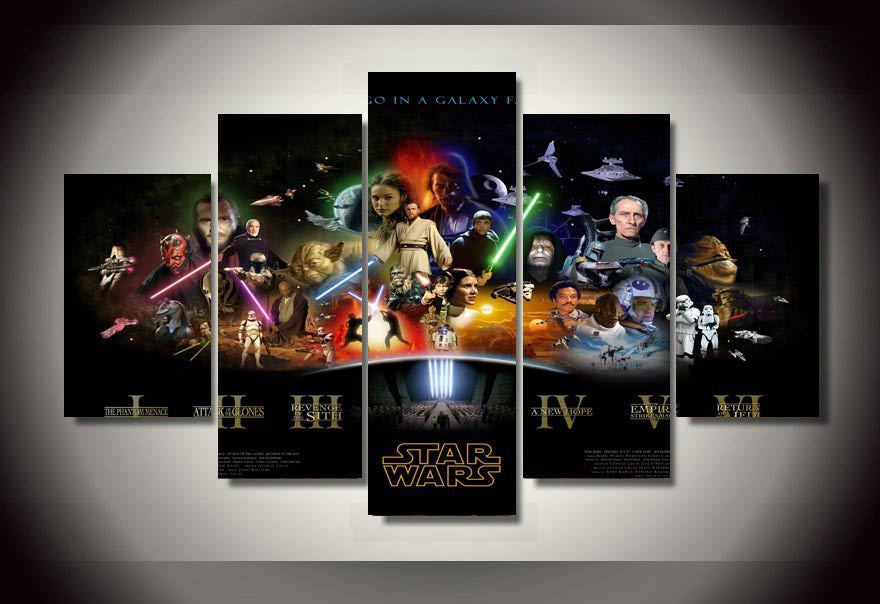 5 panel canvas prints art star wars