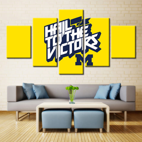 University of Michigan Football Hail to the Victors 5 Piece Canvas Oil Painting