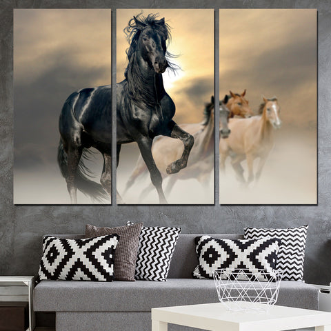 Canvas Wall Art Pictures Modern Home Decor 3 Pieces Black Horse Animal Paintings For Living Room HD Prints Cowboy Horse Posters