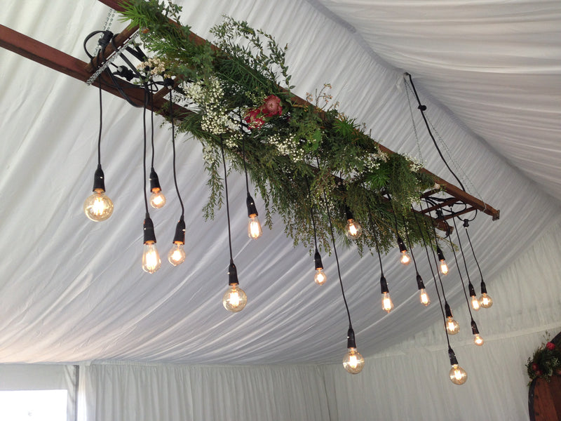 Rustic Ladder with Festoon Lights