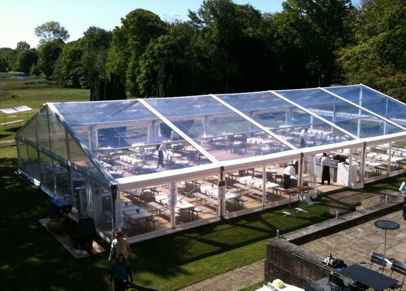 Wedding Marquee with clear roof and sides