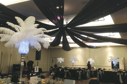 Black Ceiling Silks And Fairy Lights Ha Hire