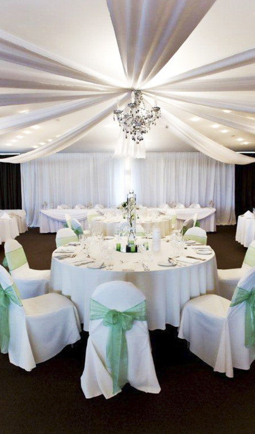8 White Ceiling Silks and Fairy Lights and Chandelier