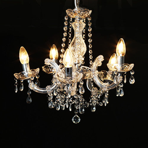 Clear 5 Branch Chandelier