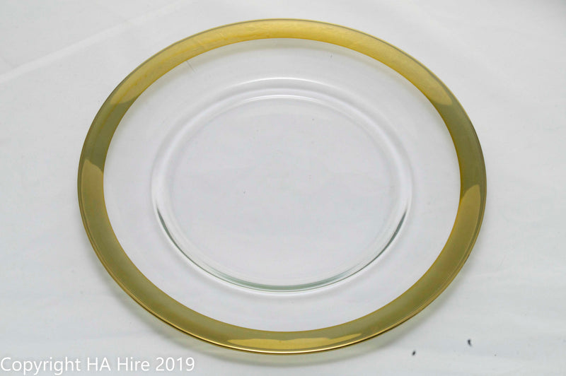 Gold Rimmed Glass Charger Plate