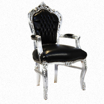 Arm Chair  Black Leather with Silver Finish