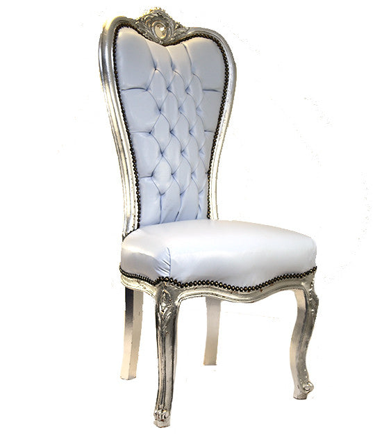 Bride and Groom Throne Chair  White Leather with Silver Finish