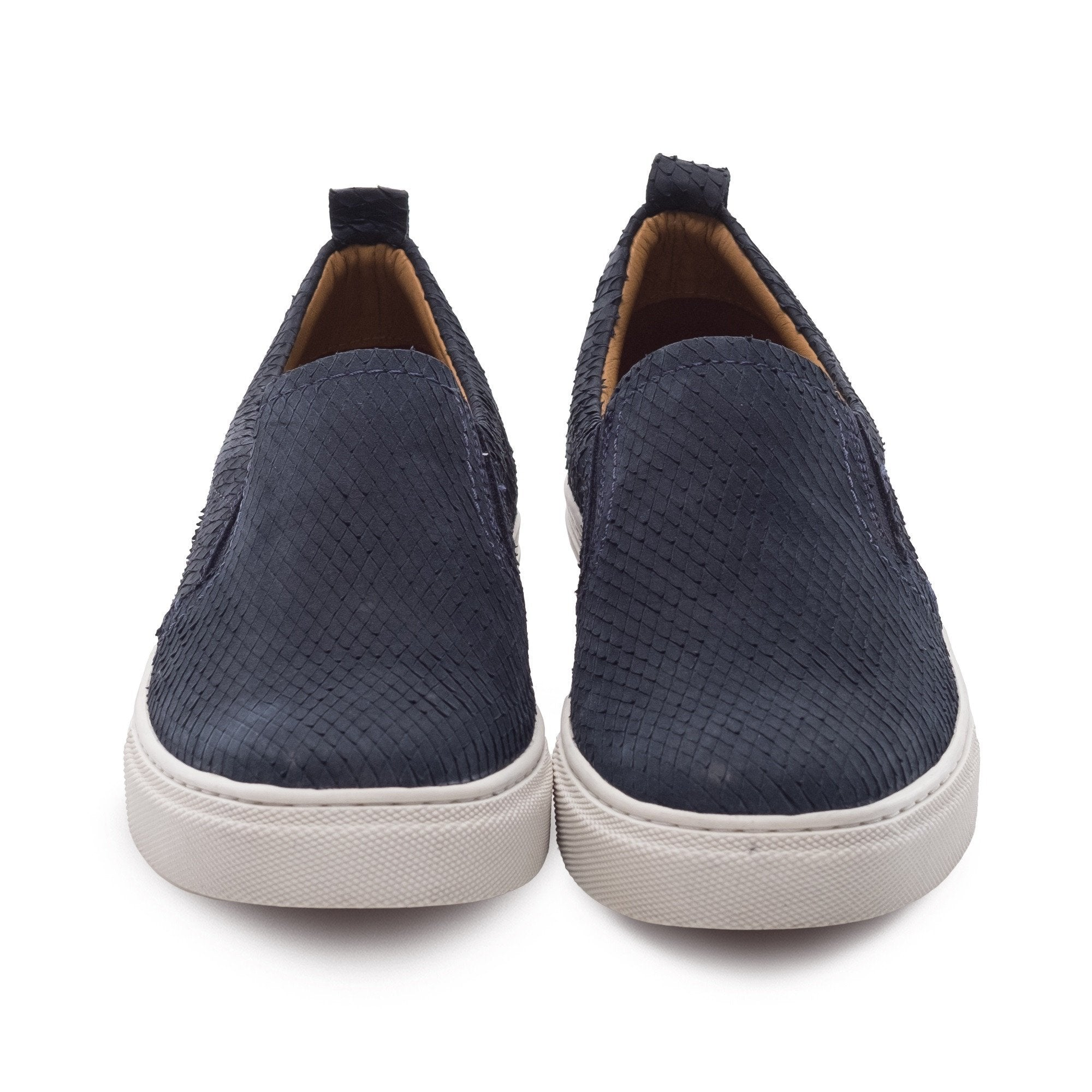 4b10a0943bfe ... J SHOES WOMEN S POVEY NAVY LEATHER CUP SOLE SLIP ON TRAINER ...