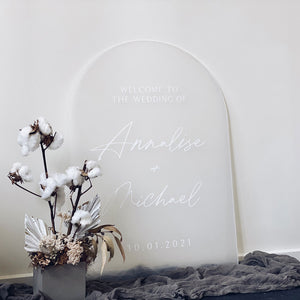 Frost Arched Acrylic Welcome Sign