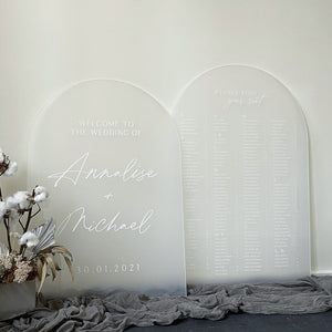 Frost Arched Acrylic Welcome and Seating Sign Package