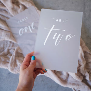 Acrylic A5 Modern Frosted Clear Table Numbers