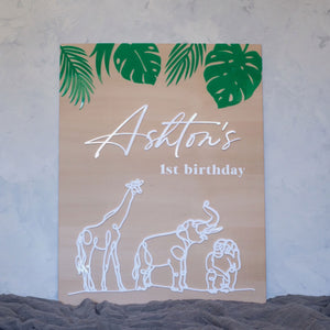 Wooden + Acrylic Animal Birthday Sign